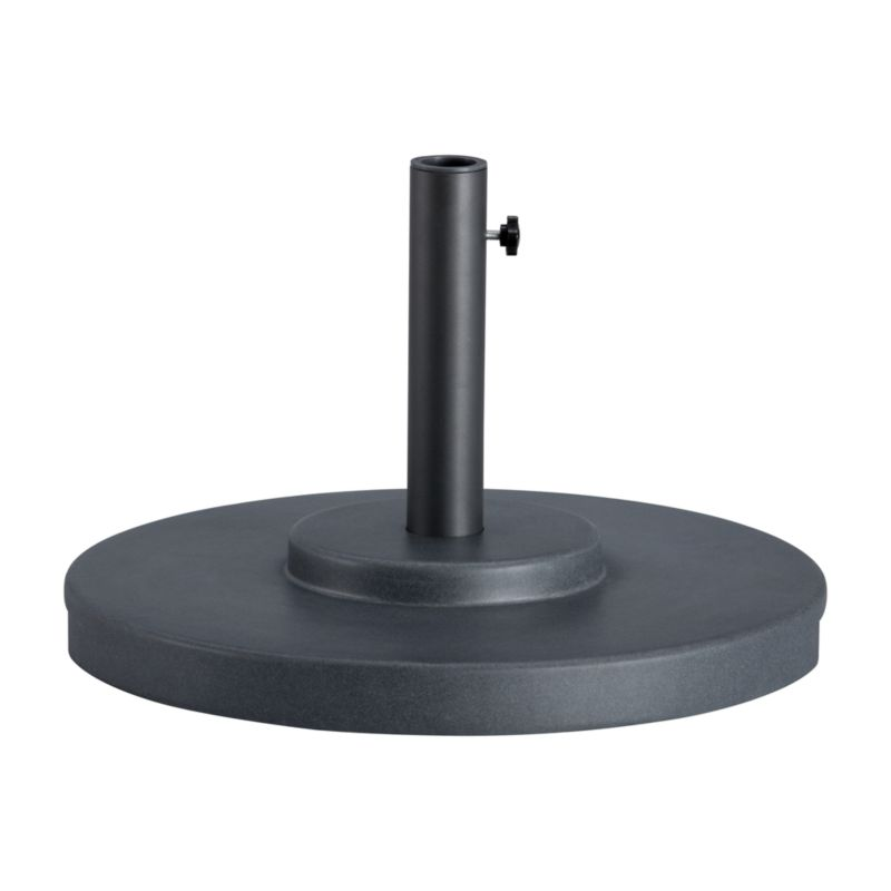 "Scaled-up charcoal umbrella stand with rugged construction in carefree rustproof fiberstone anchors your outdoor umbrella, with or without a table. We recommend the large stand for freestanding use.<br /><br /><NEWTAG/><ul><li>Rustproof poly resin and stone mixture in charcoal</li><li>Cutout handle for easy lifting</li><li>Use large stand with any of our umbrella frames: accommodates 1.5"" dia. pole with adapter, or 1.875"" dia. pole without adapter</li><li>Large stand works with a table or on its own</li><li>Assembly required to thread cylinder and feet to base</li><li>Made in China</li></ul>"