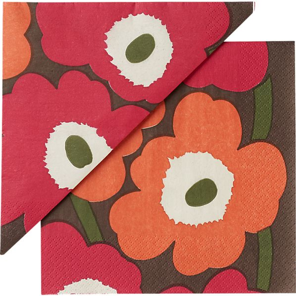 "Set of 20 Marimekko Unikko Brown and Orange and Pink Paper 6.5"" Napkins"