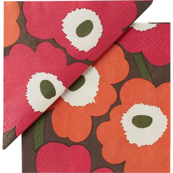 "Set of 20 Marimekko Unikko Brown and Orange and Pink Paper 4.75"" Napkins"