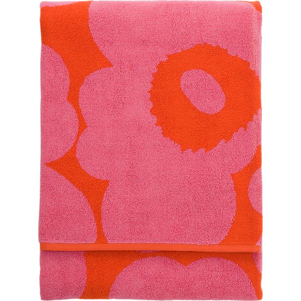 Marimekko Unikko Pink and Red Beach Towel