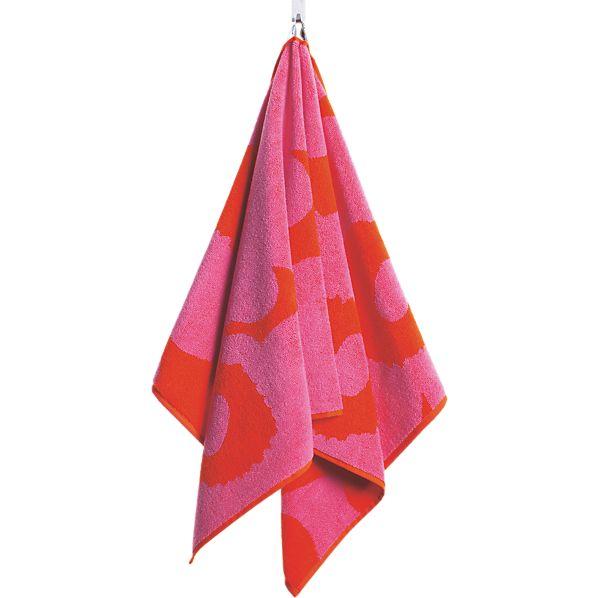 Marimekko Unikko Pink and Red Hand Towel