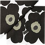 Set of 20 Marimekko Unikko Black Paper 6.5&quot; Napkins