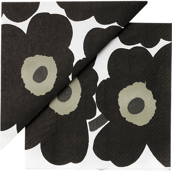 "Marimekko Unikko Black Paper 6.5"" Napkins Set of 20"