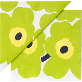 Set of 20 Marimekko Unikko Lime and Yellow Paper 6.5 Napkins