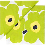 Set of 20 Marimekko Unikko Lime and Yellow Paper 6.5&quot; Napkins