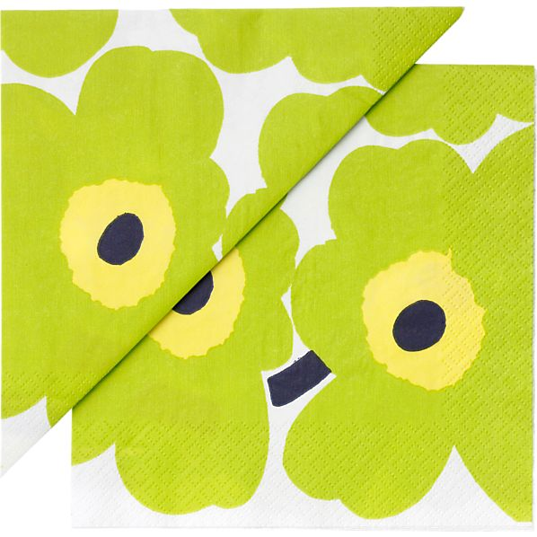 "Set of 20 Marimekko Unikko Lime and Yellow Paper 6.5"" Napkins"