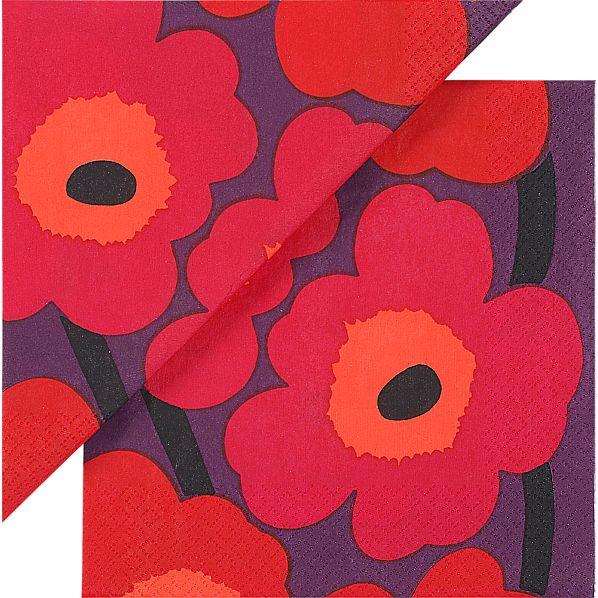 "Set of 20 Marimekko Unikko Pink and Plum Paper 4.75"" Napkins"