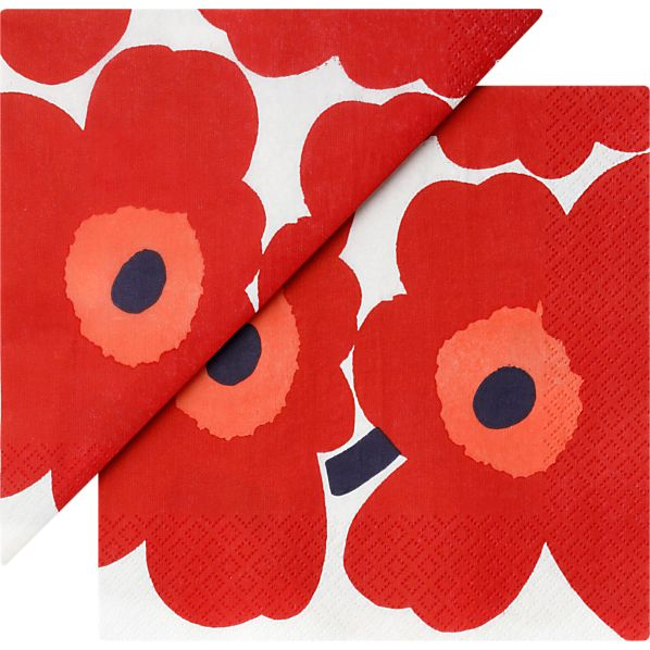 "Set of 20 Marimekko Unikko Red Paper 6.5"" Napkins"