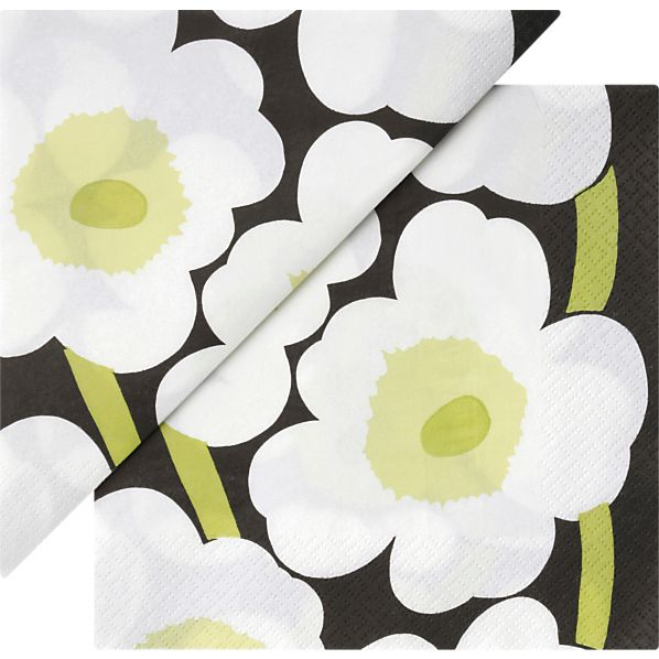 "Marimekko Unikko White Paper 6.5"" Napkins Set of 20"