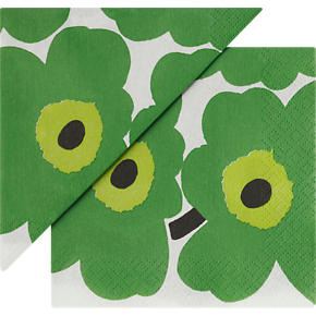 Set of 20 Marimekko Unikko Green Paper 4.75 Napkins
