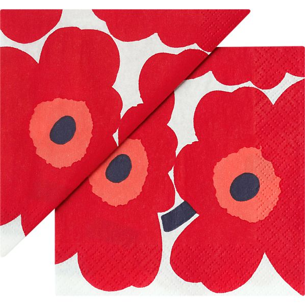 "Set of 20 Marimekko Unikko Red Paper 4.75"" Napkins"