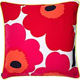 "Marimekko Unikko Red and White 24"" Pillow"