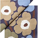 Set of 20 Marimekko Unikko Dusk Paper 6.5&quot; Napkins