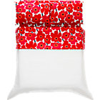 Marimekko Pieni Unikko Full Sheet Set. Red.Includes one flat sheet, one fitted sheet and two standard pillowcases.