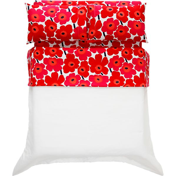 Marimekko Pieni Unikko Red Twin Extra Long Sheet Set