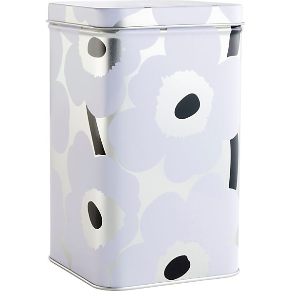 Marimekko Unikko Tall White and Silver Tin Box