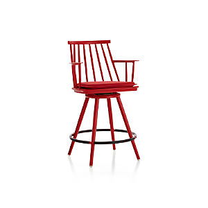 "Union Red 24"" Swivel Counter Stool with Sunbrella ® Cushion"