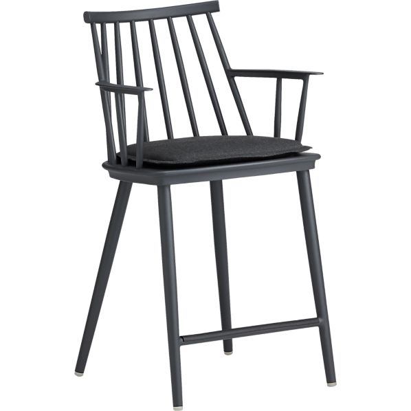 "Union Charcoal 24"" Counter Stool with Sunbrella® Charcoal Cushion"