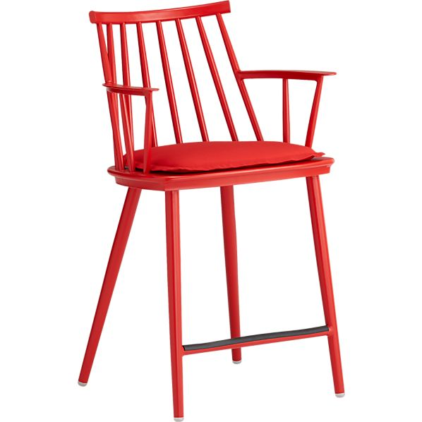 "Union Red 24"" Counter Stool with Sunbrella® Red Ribbon Cushion"