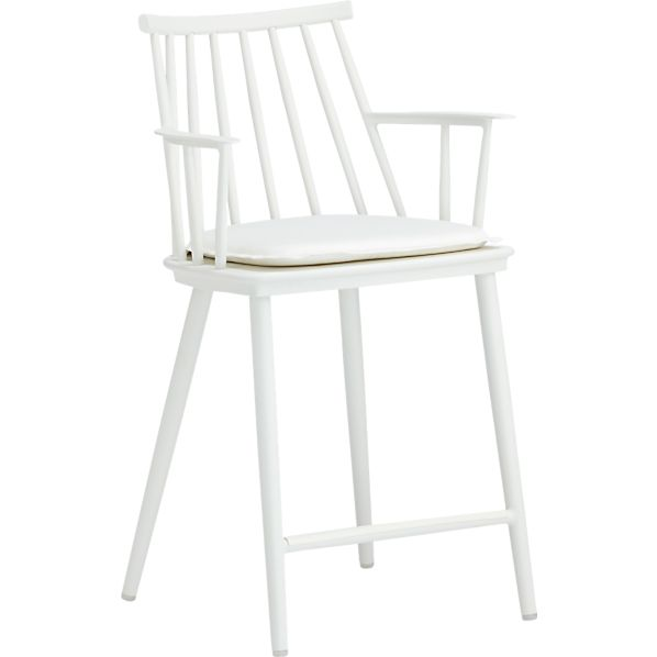 "Union White 24"" Counter Stool with Sunbrella® White Sand Cushion"
