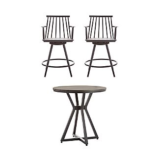 Union 3-Piece High Dining Table with Charcoal Counter Stool Set