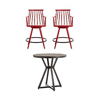 Union 3-Piece High Dining Table with Red Counter Stool Set