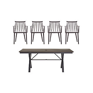 Union 5-Piece Trestle Dining Table with Charcoal Dining Chair Set