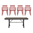Union 5-Piece Dining Set (Trestle Dining Table, 4 Red Dining Chairs).