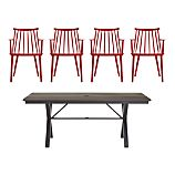 Union 5-Piece Trestle Dining Table with Red Dining Chair Set