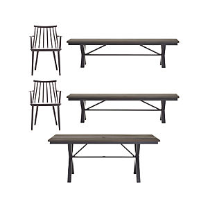 Union 5-Piece Trestle Dining Table with Charcoal Dining Chairs and Bench Set