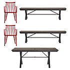 Union 5-Piece Dining Set (Trestle Dining Table, 2 Red Dining Chairs, 2 Benches).