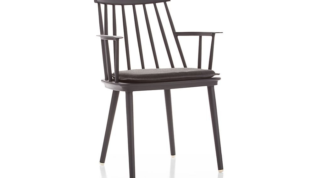 Union Charcoal Dining Arm Chair with Sunbrella ® Cushion