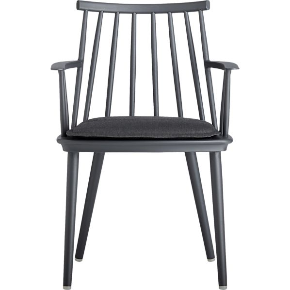 Union Charcoal Dining Arm Chair with Sunbrella® Charcoal Cushion