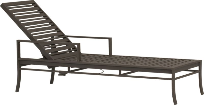 Welcome entertaining with a sleek profile that relaxes poolside. Crafted of durable, lightweight extruded aluminum, varied-size slat design chaise lounge adjusts to any back position with a gas lift lever. Smooth, rustproof bronze powdercoat finish and stainless steel hardware stand up to the elements. Valencia dining collection also available.<br /><br /><NEWTAG/><ul><li>Designed by Blake Tovin</li><li>Rustproof extruded aluminum</li><li>Bronze powdercoat finish</li><li>Made in Vietnam</li></ul>