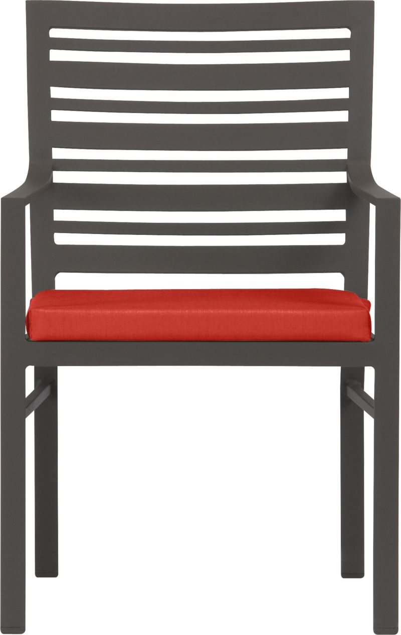 Transitional seating for easy outdoor dining. Comfortable companion chair features a stylish design in durable yet lightweight extruded aluminum. Slatted back relaxes at a modern angle, inviting leisurely dining and conversation. Smooth, rustproof bronze powdercoat finish stands up to the elements. Cushion is covered in fade- and mildew-resistant Sunbrella acrylic in spicy caliente. Fabric tab fasteners hold cushion in place. Valencia lounge collection also available.<br /><br /><NEWTAG/><ul><li>Rustproof extruded aluminum</li><li>Bronze powdercoat finish</li><li>Cushion cover is fade- and mildew-resistant Sunbrella acrylic</li><li>Polyfoam insert</li><li>Spot clean cushion</li><li>Made in Vietnam and USA </li></ul>