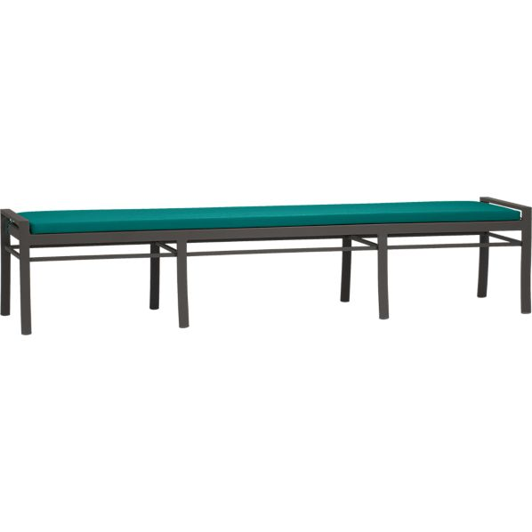 Valencia Large Dining Bench with Sunbrella® Harbor Blue Cushion