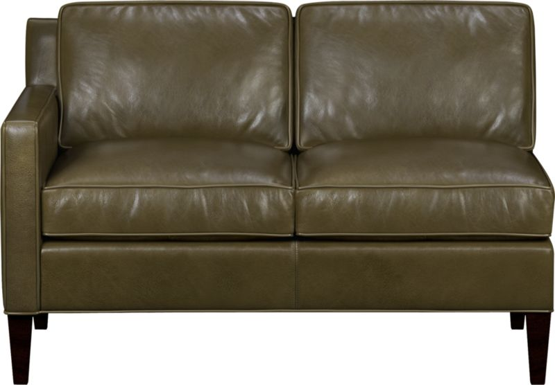 Saturated color and a naturally milled grain herald a soft, authentic leather that is supple yet polished. Rich top-grain leather with self-welt detail has a refined patina that makes for relaxed seating. Mid-century lines feature a low extended back and slim track arm.<br /><br />After you place your order, we will send a leather swatch via next day air for your final approval. We will contact you to verify both your receipt and approval of the fabric swatch before finalizing your order.<br /><br /><NEWTAG/><ul><li>Eco-friendly construction</li><li>Certified sustainable kiln-dried hardwood frame</li><li>Top-grain, full aniline-dyed leather with self welt</li><li>Seat cushions are soy-based polyfoam with feather-down blend encased in downproof ticking</li><li>Back cushions are soy-based polyfoam with fiber encased in downproof ticking</li><li>Sinuous wire spring suspension</li><li>Hardwood legs with mocha finish</li><li>Benchmade</li><li>See additional frame options below</li></ul>