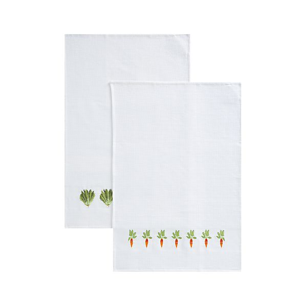 Set of 2 Vegetable Patch Dishtowels