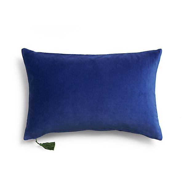 "Velvet Blue 24""x16"" Pillow with Feather-Down Insert"