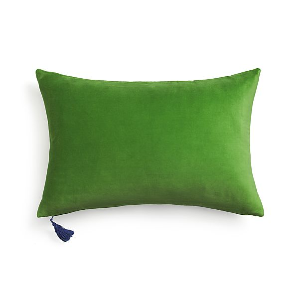 "Velvet Green 24""x16"" Pillow with Feather-Down Insert"