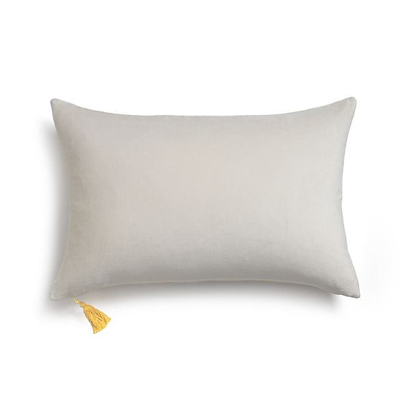 Velvet Grey Pillow with Down-Alternative Insert