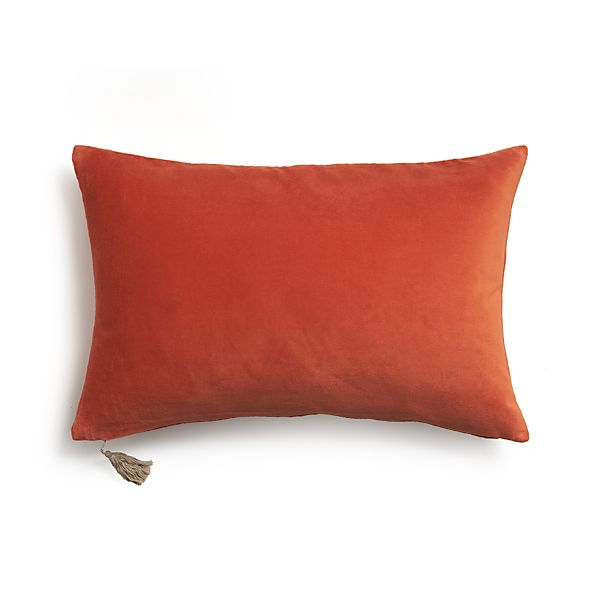 "Velvet Orange 24""x16"" Pillow with Feather-Down Insert"
