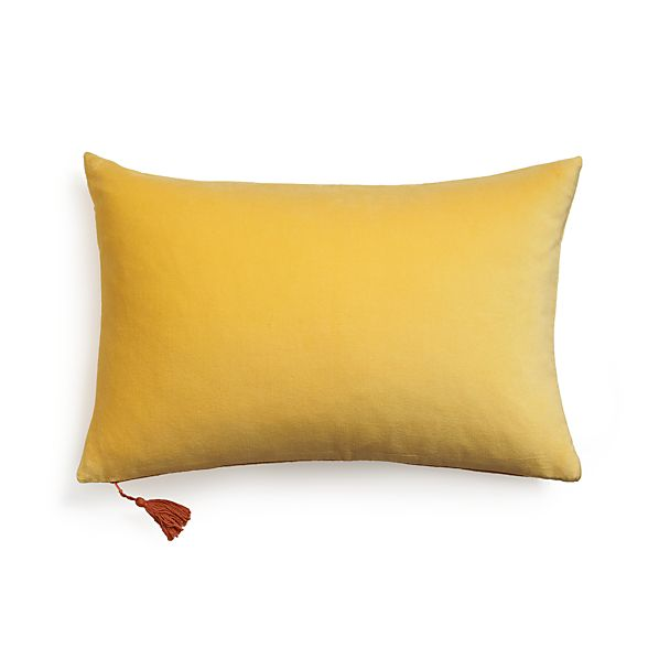 "Velvet Yellow 24""x16"" Pillow with Down-Alternative Insert"
