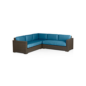 Ventura 3-Piece Loveseat Sectional with Sunbrella® Turkish Tile Cushions