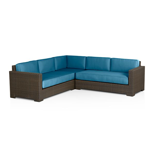 Ventura 3-Piece Loveseat Sectional with Sunbrella ® Turkish Tile Cushions