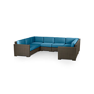 Ventura 6-Piece Sectional with Sunbrella® Turkish Tile Cushions