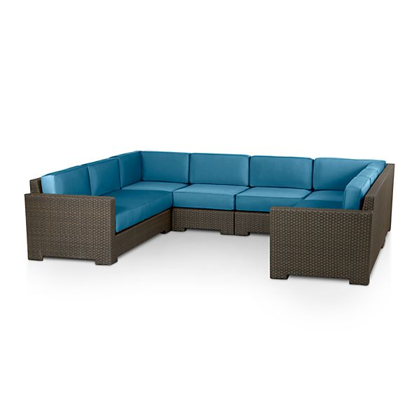 Ventura 6-Piece Loveseat Sectional with Sunbrella® Turkish Tile Cushions