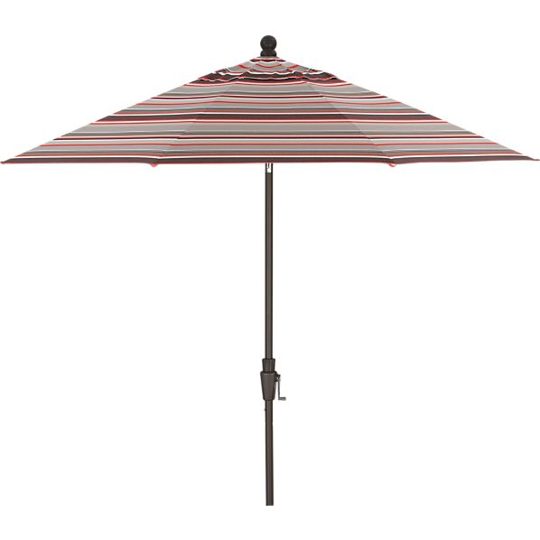 9' Round Sunbrella ® Valencia Stripe Umbrella with Bronze Frame