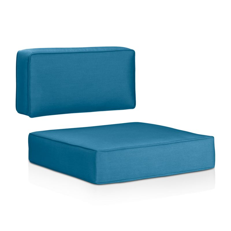 Sleek outdoor cushions with self-welt detail sit deep on our Ventura modular and lounge chairs. Cushions are covered in fade- and mildew-resistant Sunbrella acrylic. The Ventura Outdoor Sunbrella Sectional/Lounge Chair Cushions are a Crate and Barrel exclusive.<br /><br /><NEWTAG/><ul><li>Fade- and mildew-resistant Sunbrella acrylic</li><li>Foam fill</li><li>Material origin: see swatch</li><li>Made in USA</li></ul>