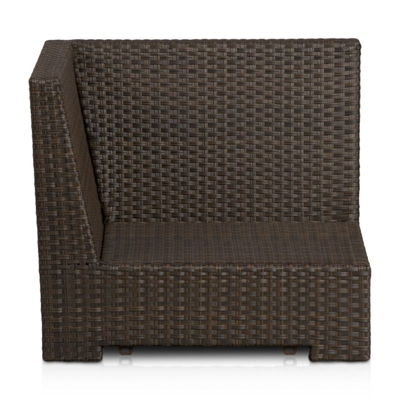Lounge in Ventura's sink-in, chill-out modular seating with versatile pieces that create your ideal outdoor living space. An angular, sturdy powdercoated aluminum frame is hand-wrapped in cool granite UV- and weather-resistant resin wicker with warm caramel overtones. <NEWTAG/><ul><li>UV-resistant, recyclable resin wicker</li><li>Aluminum frame with bronze powdercoat finish</li><li>Made in Indonesia</li></ul>